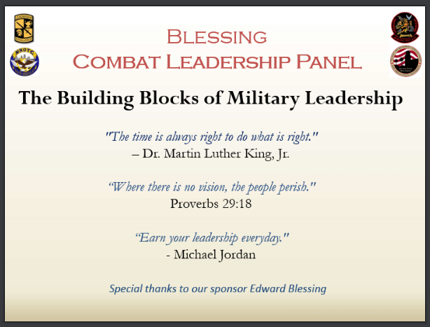 4th Annual Blessing Combat Leadership Panel Certificate