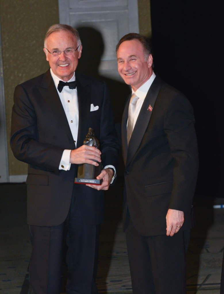 SDSU President Elliot Hirshman presented the Monty Award.